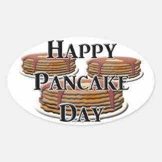 Happy Pancake Day Oval Sticker