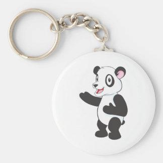 Happy Panda Bear Basic Round Button Key Ring