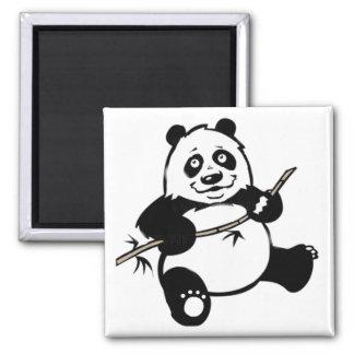 Happy Panda Bear Square Magnet