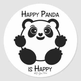 Happy Panda Classic Round Sticker