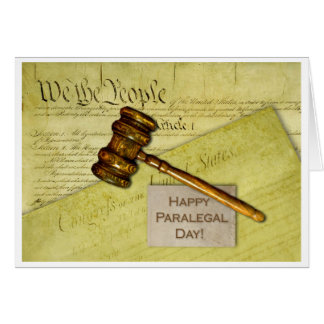 Happy Paralegal Day, Documents and Gavel Card