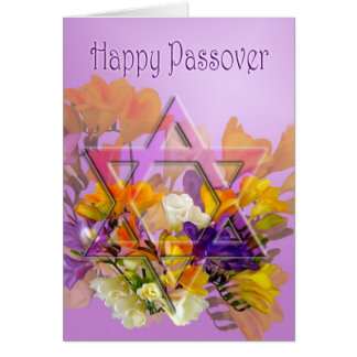 Happy Passover card with Star of David and freesia