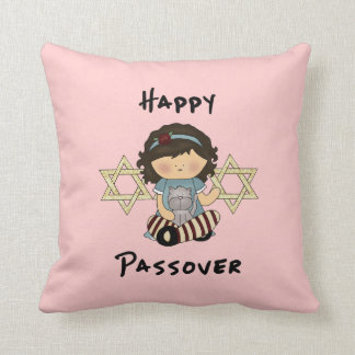 Happy Passover Girl Throw Pillow