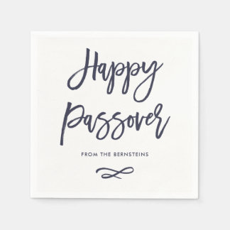 Happy Passover | Simple Modern Blue and White Paper Napkin