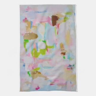 Happy Pastel Colors Kitchen Towel Abstract Art