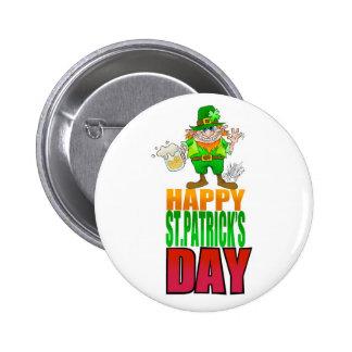 Happy Pat, Cartoon Leprechaun waving, badge. 6 Cm Round Badge