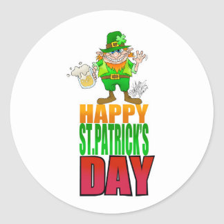 Happy Pat, Cartoon Leprechaun waving, coaster. Round Sticker