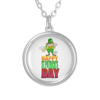Happy Pat, Cartoon Leprechaun waving, necklace. Round Pendant Necklace