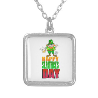 Happy Pat, Cartoon Leprechaun waving, necklace. Silver Plated Necklace