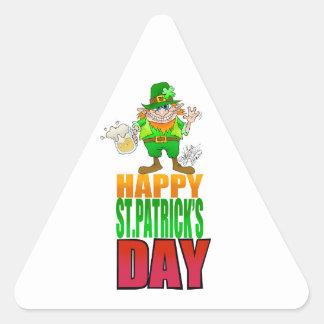 Happy Pat, Cartoon Leprechaun waving. Triangle Sticker
