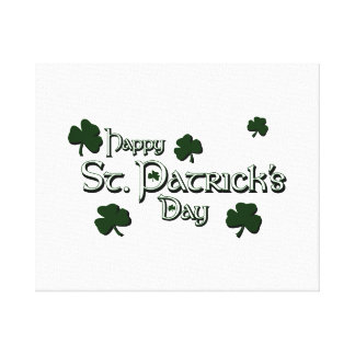 happy patricks day with clovers white.png gallery wrapped canvas