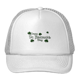 happy patricks day with clovers white.png mesh hats