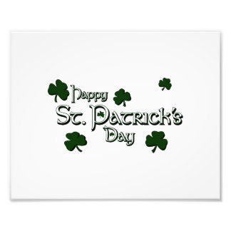 happy patricks day with clovers white png photographic print