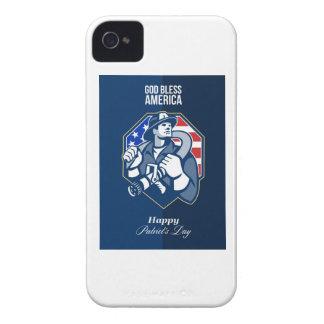 Happy Patriots Day God Bless America Retro Case-Mate iPhone 4 Case
