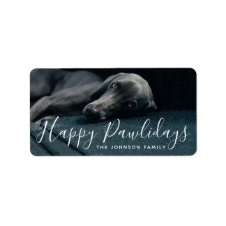 Happy Pawlidays Custom Greeting Holiday Pet Photo Label