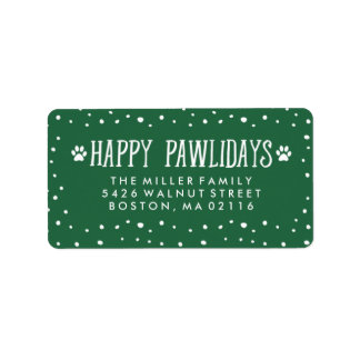 Happy Pawlidays | Green Holiday Address Label