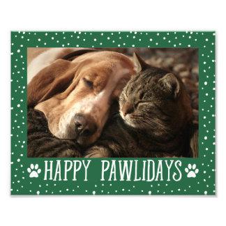 Happy Pawlidays | Green Holiday Photo Print