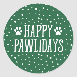 Happy Pawlidays | Green Holiday Round Sticker