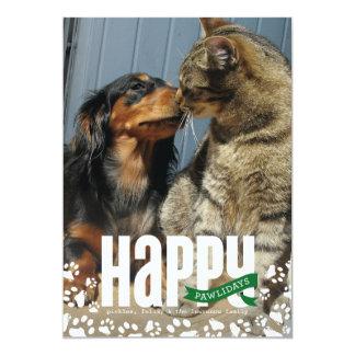 Happy Pawlidays Pet Christmas Photo Card 13 Cm X 18 Cm Invitation Card