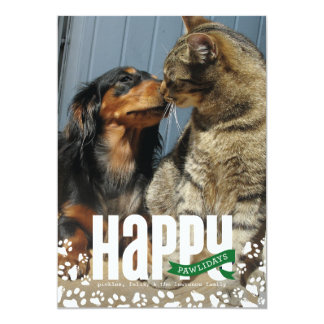 Happy Pawlidays Pet Christmas Photo Card Custom Invites
