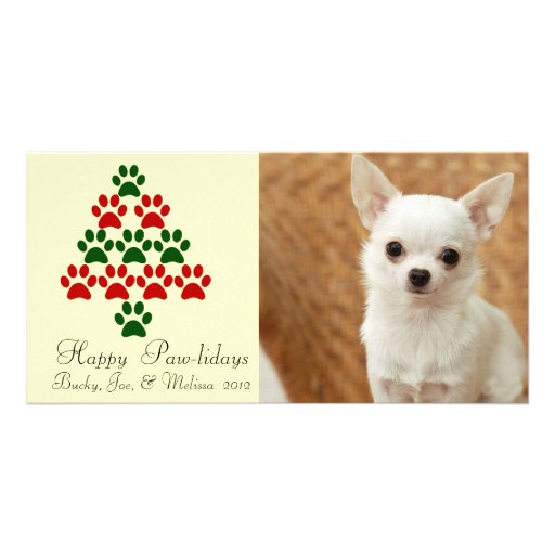 Happy Pawlidays Pet Christmas Photocard Photo Card Template
