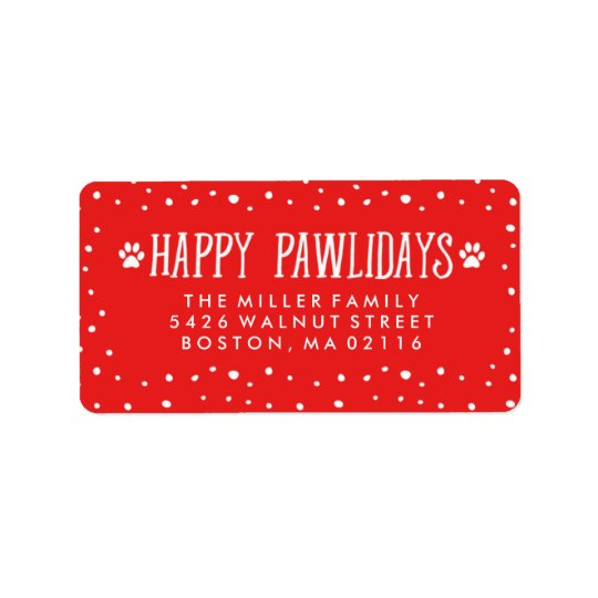 Happy Pawlidays | Red Holiday Address Address Label