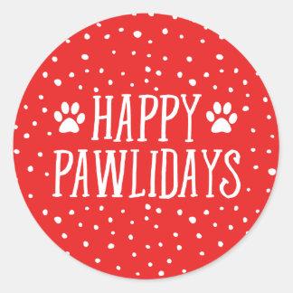 Happy Pawlidays | Red Holiday Classic Round Sticker