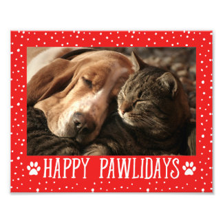 Happy Pawlidays | Red Holiday Photo Print