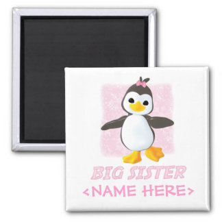 Happy Penguin Big Sister Square Magnet