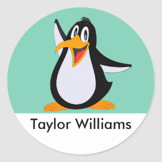 Happy Penguin Cartoon With Custom Name Classic Round Sticker