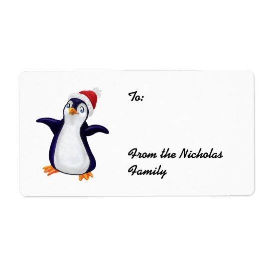Happy Penguin Christmas Present labels (L)