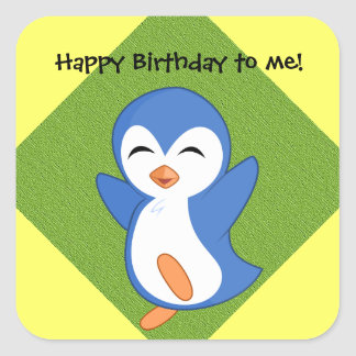 Happy Penguin on Yellow and Green Birthday Sticker Square Sticker