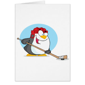 Happy-Penguin-Playing-Ice-Hockey Greeting Card