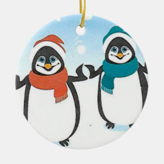 Happy Penguins Holiday Ornaments