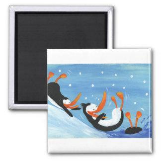 happy penguins square magnet