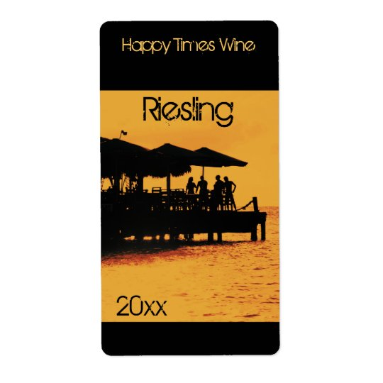 happy people at sunset wine bottle label
