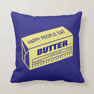 Happy People Eat Butter (Blue) Cushion