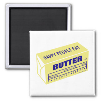 Happy People Eat Butter (Blue) Magnet