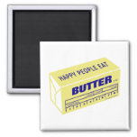 Happy People Eat Butter (Blue) Square Magnet