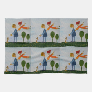 Happy People Painting Tea Towel