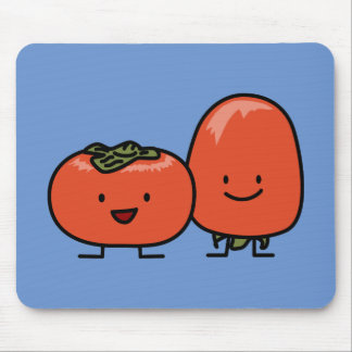 Happy Persimmon Pair Persimmons Sweet Fruit Mouse Pad