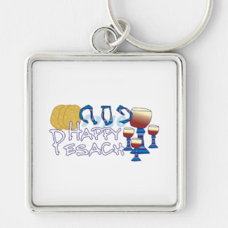 Happy Pesach Silver-Colored Square Key Ring