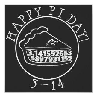 Happy Pi day chalkboard pie square card 13 Cm X 13 Cm Square Invitation Card