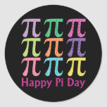 Happy Pi Day Colourful Tiles.png Round Stickers