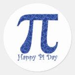 Happy Pi Day Dark Blue Swirls Round Stickers