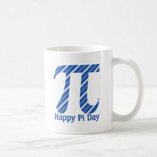 Happy Pi Day Diagonal Blue Lines Basic White Mug