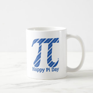 Happy Pi Day Diagonal Blue Lines Classic White Coffee Mug
