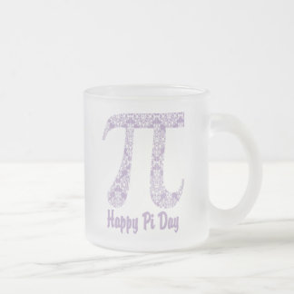 Happy Pi Day Lavender Damask Frosted Glass Mug
