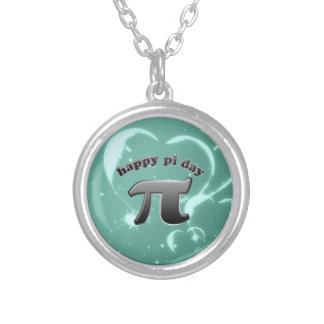 Happy Pi Day Pi Symbol for Math Nerds on March 14 Round Pendant Necklace