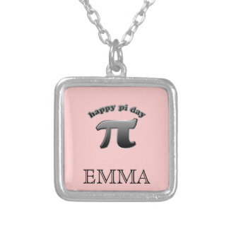 Happy Pi Day Pi Symbol for Math Nerds on March 14 Square Pendant Necklace